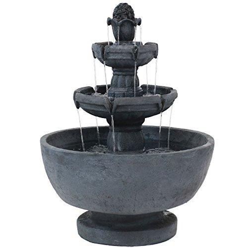 (Sunnydaze Budding Fruition 3-Tier Outdoor Water Fountain, 34-Inch)