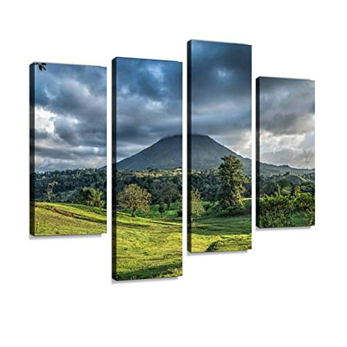 (Arenal Volcano, Costa Rica Canvas Wall Art Hanging Paintings Modern Artwork Abstract Picture Prints Home Decoration Gift Unique Designed Framed 4 Panel)