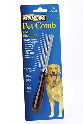 - Four Paws Wood Handle Dog Grooming Shedding Comb