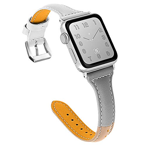 (OULUCCI Compatible for Apple Watch Band 38mm 40mm, Genuine Leather Replacement iWatch Wristband Strap with Metal Buckle for iWatch Series 4 3 2 1, Slim Design for Women)