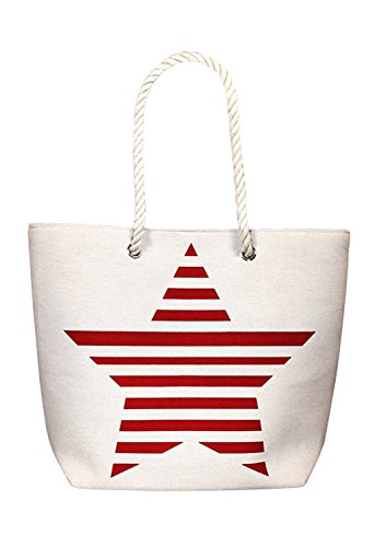 Rosemarie Collections Women's Stars and Stripes Patriotic Canvas Tote -
