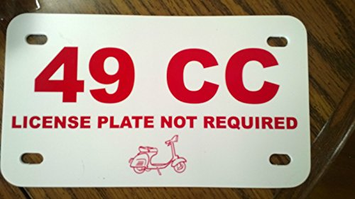 49 CC Moped Scooter Plastic License Plate Place Holder Sign - Plate Not Required ()