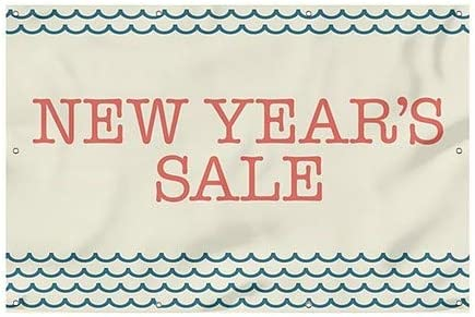 12x8 New Years Sale Nautical Wave Heavy-Duty Outdoor Vinyl Banner CGSignLab