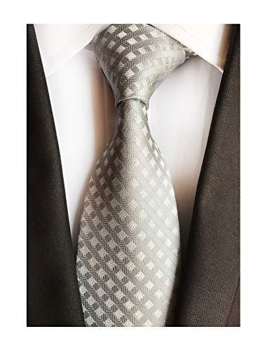 Men's Boy Junior Ties Softness Amazing Silk Grey Gingham Luxury Wedding Neckties -