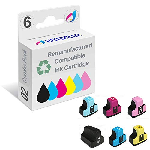 HOTCOLOR Remanufactured Ink Cartridge Replacement for HP 02 HP 02XL Ink for HP photosmart C5180 C6180 C6280 C7180 C7280 C7200 Black Cyan Magenta Yellow Light Cyan Light Magenta 6Pack