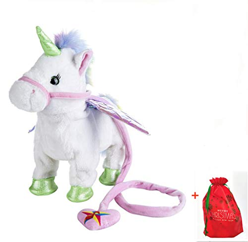 SUNFUL Electric Walking Unicorn Plush Toy Stuffed Animal Toy Electronic Music Unicorn Toy for Children 35cm (White) - Electric Animal Toy