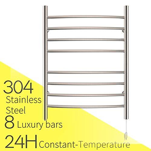 Stainless Steel Electric Hanging Heater - HEATGENE Towel Warmer 8 Bar Plug-in Curved Bath Towel Heater Brushed