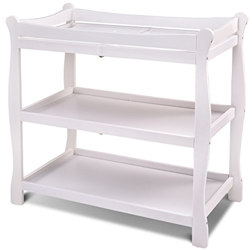 Costzon Baby Changing Table, Infant Diaper Changing Table Organization, Newborn Nursery Station with Pad, Sleigh Style Nursery Dresser Changing Table with Hamper/ 2 Fixed Shelves (White)