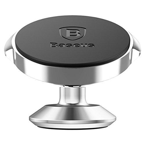 新品 Baseus Magnetic Universal Car Phone Holder For iPhone X 8 7 Plus Samsung Galaxy S9 S8 S7 S6 GPS for Car Dashboard Mount 360 degrees Car Mount Phone Holder ... (Silver)