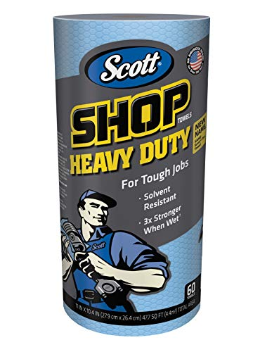 Scott Shop Towels Heavy Duty (32992), Blue Shop Towels for Solvents & Heavy-Duty Jobs, 60 Sheets / Roll, 12 Rolls, 720 Sheets / ()
