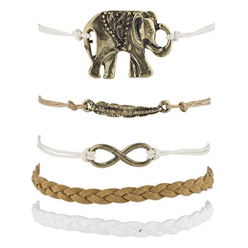 - Lux Accessories Burnish Goldtone Boho Elephant Good Luck Charm Arm Candy Set 5PC