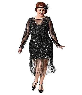 Black & Gold Plus Size Beaded Sheer Long Sleeve Betty Flapper Dress