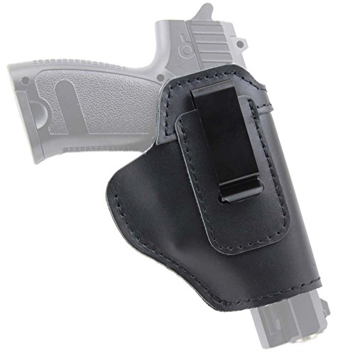 IWB Holster Leather Concealed with Clip for S&W M&P Shield 9mm Glock 17 18 19 22 23 32 33 36 43 or All Similar Sized Handguns (Right Side-Blank)