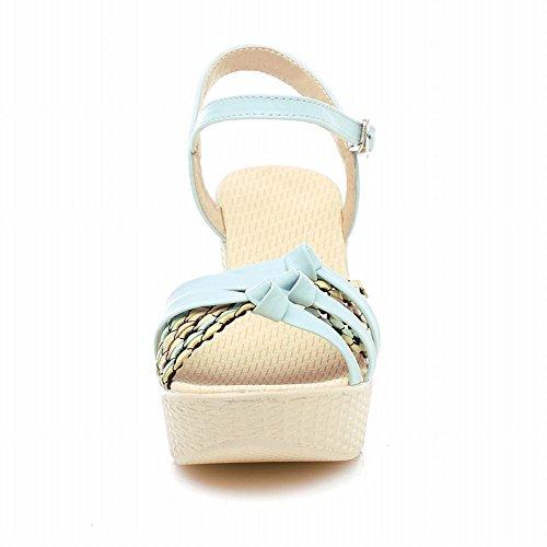 Carol Chaussures Mode Femmes Été Coloré Tricot Boucle Mignon Plateforme Talon Haut Cale Sandales Bleu