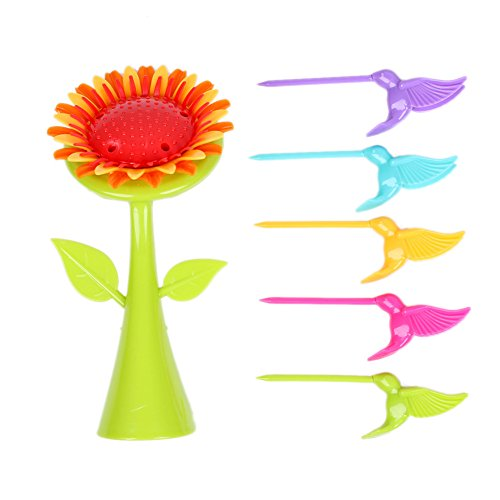 Navisha Birdie Plastic Fruit Fork Set, 6 Pieces, Multicolour