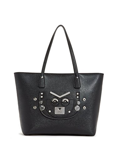 Guess Women's Cyber Rock Black Saffiano Tote Handbag