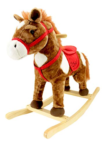 Animal Adventure | Real Wood Ride-On Plush Rocker | Chestnut Horse | Perfect for Ages 3+ (Horse Rocking Accessories)