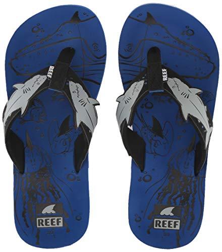 Reef Unisex AHI Shark Sandal, Blue, 2-3 Medium US Little Kid