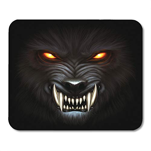 Emvency Mouse Pads Fantasy Angry Werewolf Face in Darkness Digital Painting Wolf Beast Mouse pad 9.5