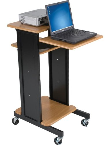 (BALT Audio Visual Adjustable Presentation Cart, Teak Black, 40.25