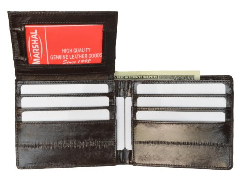 100% Genuine EEl Skin Bi-fold Mens Wallet Brown - Fold Bi Skin Wallet