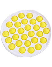 BrilliantMagic Push Pop Bubble Sensory Fidget Toy, Silicone Bubble Anxiety Stress Reliever Toys for Kids Adults, Squeeze Sensory Toy for Family & Office (Circular) (Yellow)