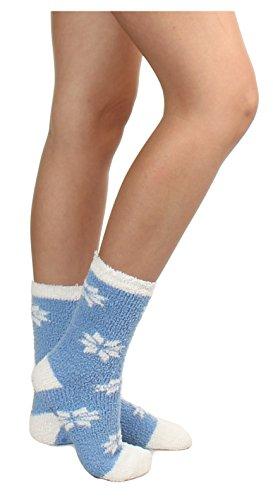 Gilbin 6 Pack Super Soft Toasty Fuzzy Snowflake Holiday Socks, Anti Grip Socks, Size 9-11 by Gilbin (Image #3)