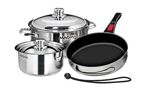 - Magma Products, A10-363-2-IND, Gourmet Nesting 7-Piece Stainless Steel Induction Cookware Set with Ceramica Non-Stick
