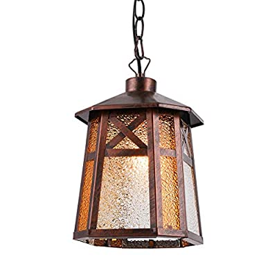 BETLING Outdoor Pendant Lantern Hanging Porch Light Fixture, Oil Rubbed Bronze