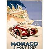 1937 Monaco Grand Prix F1 Race by Artist Geo Ham 30''x40'' Planked Wood Sign Wall Decor Art