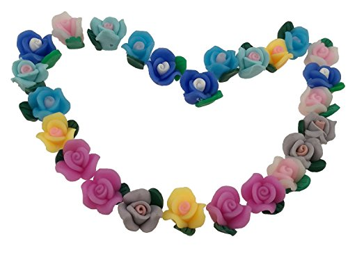 Handmade Fimo (50pcs/lot Mini Colorful Handmade Polymerclay Polymer Clay Fimo Roses Flower Beads Perforated With Hole For Necklace Bracelet Mobile Phone DIY Making Home Office Party Decoration Diameter 13mm)