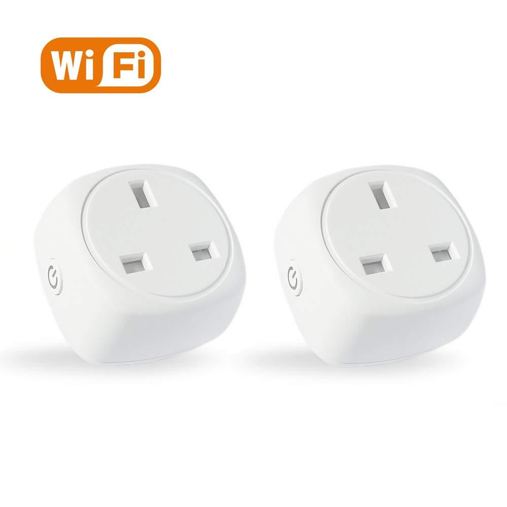 Google Home//Wireless Remote Control Socket//Timer Plug Switch//WiFi Plugs//No Hub Required//Support IFTTT Echo Echo Dot 2 Pack Smart Plug ASZKJ Mini WiFi Socket//Compatible with Alexa