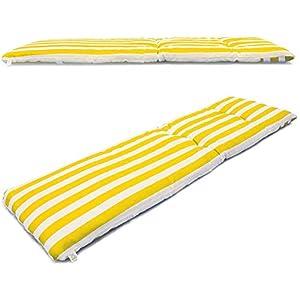 VIGIVISION Cojín para Tumbona. Colchón Tumbona Acolchada Medidas 180 x 50 x 5 cm (Rayas Amarillo)