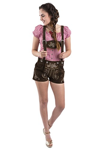 Womens-Original-Lederhosen-German-Bavarian-Hotpants-Ladies-Trouser-Pants