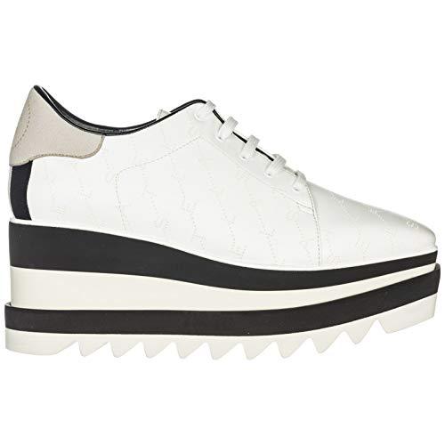 Stella McCartney Women Elyse Wedge Sneakers White/Marcasite 10 US