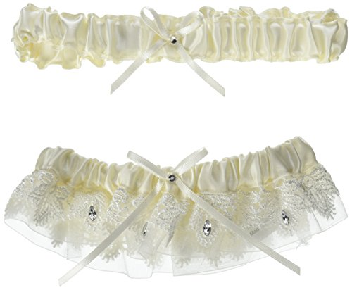 Hortense B. Hewitt Wedding Accessories Sparkling Elegance Garter Set, Ivory