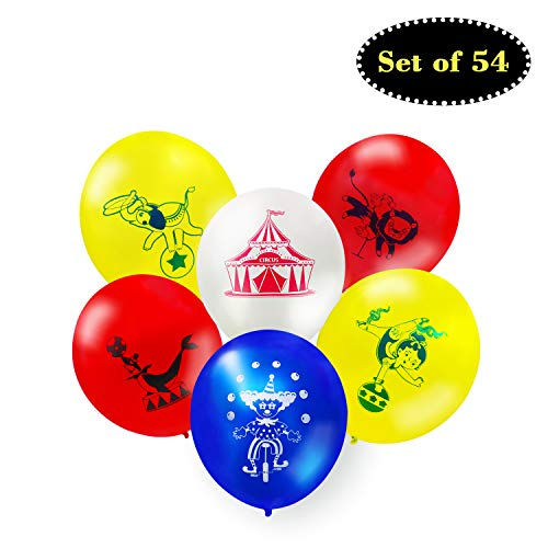 Faisichocalato Set of 54 Circus Animals Balloons Carnival Theme Birthday Party Supplies Circus Themed Baby Shower Baby Sprinkle Decorations Wedding Partu Favors 12