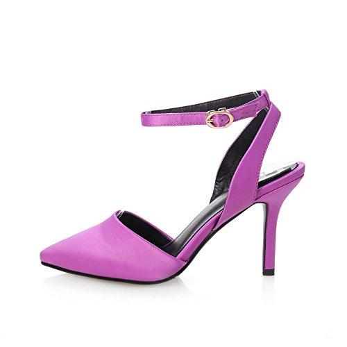 AllhqFashion Women's Soft Material Buckle Closed Toe Spikes Stilettos Solid Sandals Purple QBGBN