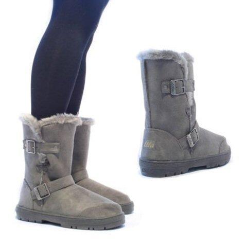 Womens Ladies Ella Alex Fur Lined Winter Boots Flat Low Heel Buckle Mid Calf Biker Shoes Size Grey TdMiA5C8