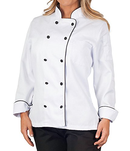 KNG Womens Executive Chef Coat with Black Piping,White,Medium