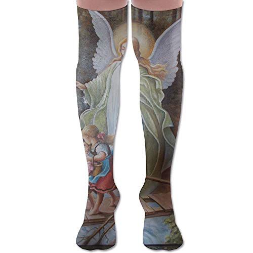 Guardian Angel Polyester Cotton Over Knee Leg High Socks Unique Unisex Thigh Stockings Cosplay Boot Long Tube Socks for Sports Gym Yoga Hiking Cycling Running Nurses