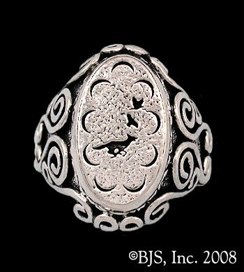 14k White Gold Small Mat Cauthon's ™ Signet Ring Officially Licensed Robert Jordan Wheel of Time ® Jewelry by Raven Blackwood