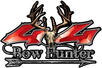 (REFLECTIVE Bow Hunter Twisted Series 4x4 Truck Decal Kit with Arrow in Red )