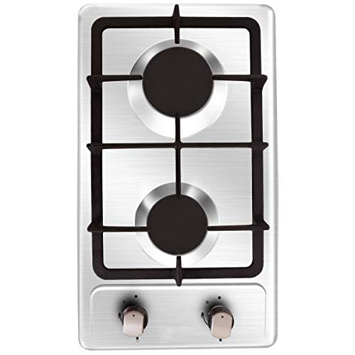 NOXTON Gas Cooktop Hob Gas Stove Top 2 Sealed Burners in Stainless Steel 16207btu with LPG Kit&FFD Plug for 110V~240V