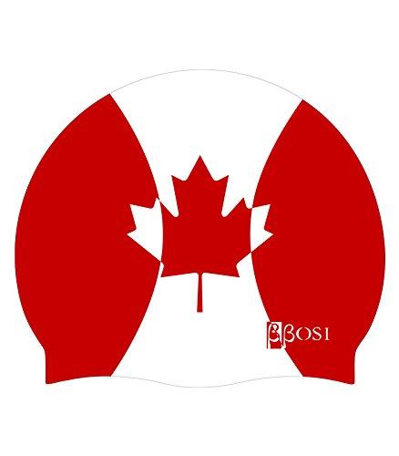 Bonnet de Natation Canada Bonnet de Bain en Silicone Bonnet Piscine pour  Adulte Homme et Femme