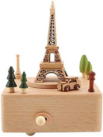 N/X Caja de música Artesanal de Madera Caja de música en Forma de Torre con Mini Coche Cumpleaños Regalo para niños Cumpleaños Día de la Madre Caliente