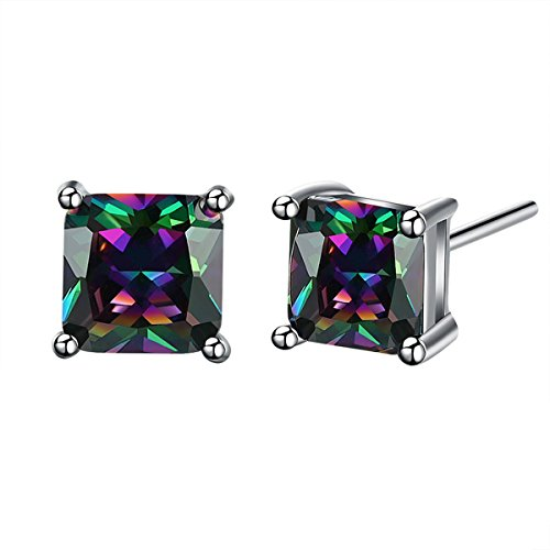 Buycitky 18K White Gold Plated Multicolor Black Cubic Zirconia Stud Earrings for Women Teen Girls Jewelry