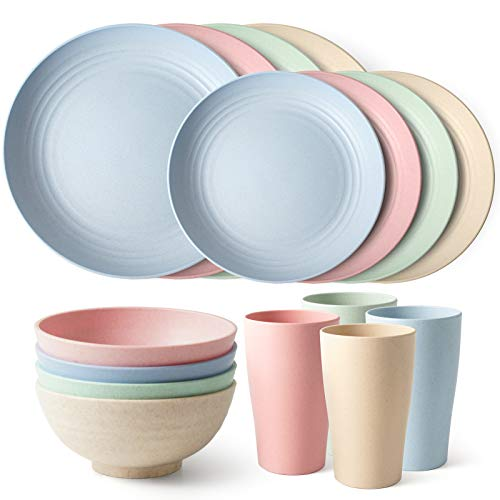 Teivio 16-Piece Kitchen Wheat Straw Dinnerware Set, Dinner Plates, Dessert Plate, Cereal Bowls, Cups, Unbreakable…