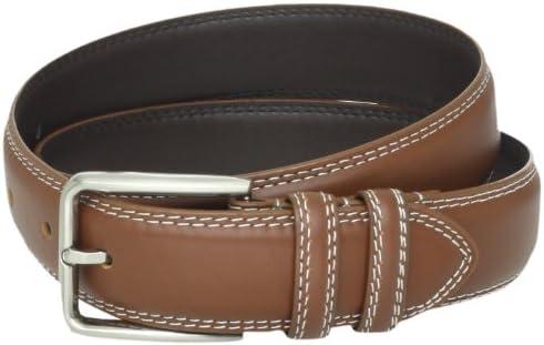 Men/'s Stacy Adams Dress Belt 165 White Leather Brushed Nickel Buckle