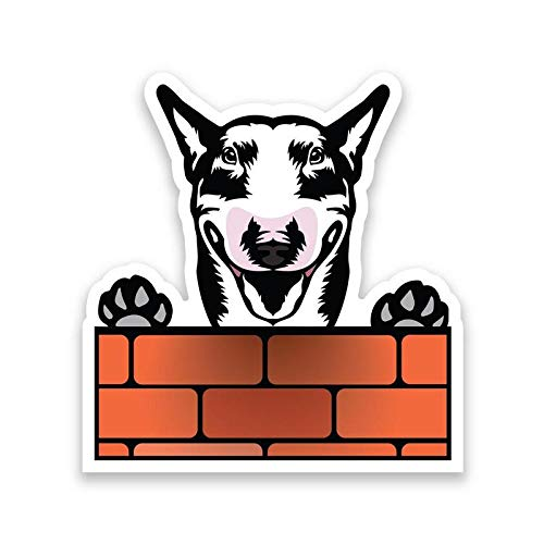 More Shiz Bull Terrier Dog Peeking Over Wall Vinyl Decal Sticker - Car Truck Van SUV Window Wall Cup Laptop - One 6.5 Inch Decal - ()